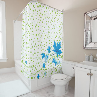 Blue maple leaves and green polka dots modern