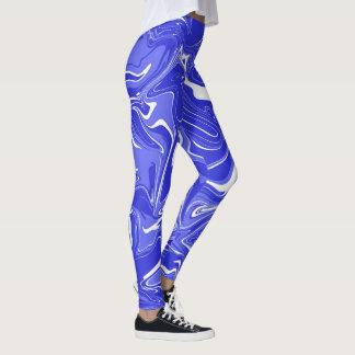 Blue marble abstract effect leggings. leggings