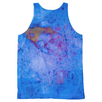 Blue marble effect All-Over-Print tank top