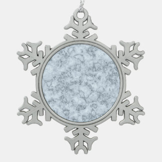 Blue marble snowflake pewter christmas ornament