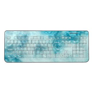 blue marble texture pattern elegant beautiful wireless keyboard