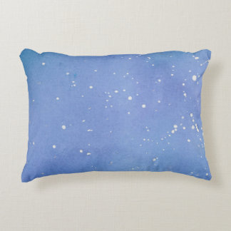 Blue Marble Watercolour Splat Decorative Pillow