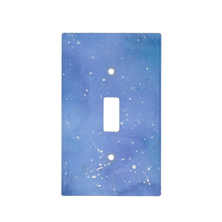 Blue Marble Watercolour Splat Light Switch Cover