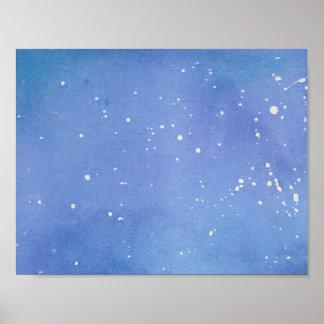 Blue Marble Watercolour Splat Poster