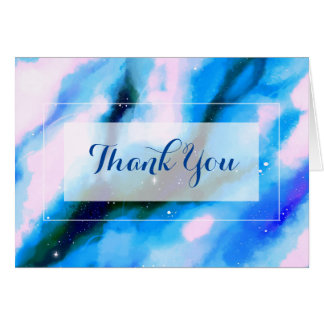 Blue Marbled Outer Space Abstract Thank You Card