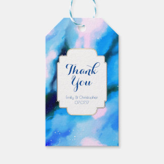 Blue Marbled Outer Space Abstract Wedding Thanks Gift Tags