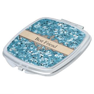 Blue-Marbleized-Best-Friend-Monogram-Compact's Travel Mirror