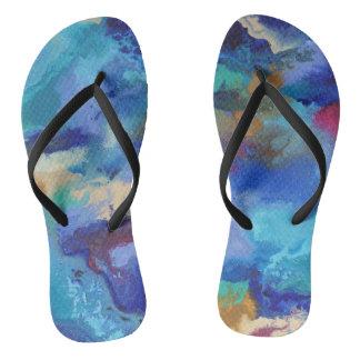 Blue Marbling Flip Flops