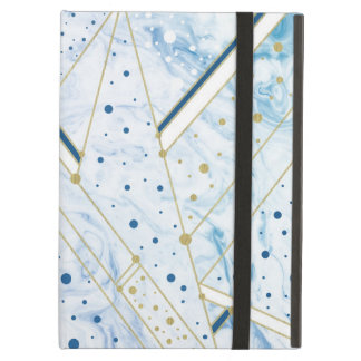 blue marbling & golden dots  geometry ipad case