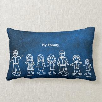 Blue Marine Chalkboard Family Doodles Lumbar Pillow