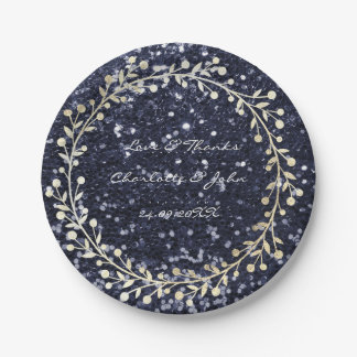 Blue Marine Glitter Foxier Gold Wreath Garland Paper Plate