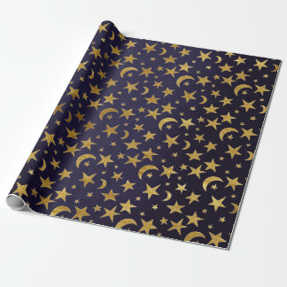 Blue Marine Golden Stars and Moon Sky Wrapping Paper