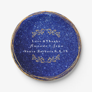 Blue Marine Sapphire Gold Floral Glitter Wedding Paper Plate