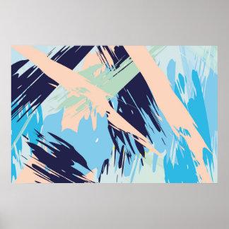 Blue Maritime Nautical Abstract Art Poster