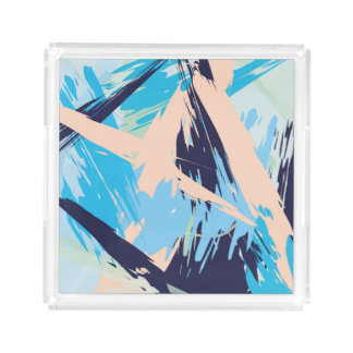 Blue Maritime Nautical Brushstroke Pattern Acrylic Tray