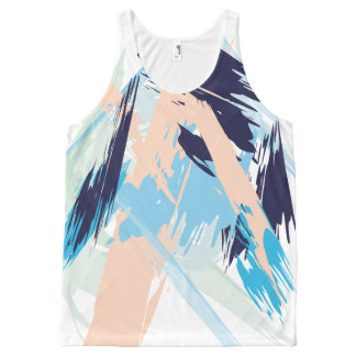 Blue Maritime Nautical Brushstroke Pattern All-Over-Print Tank Top