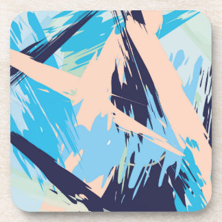 Blue Maritime Nautical Brushstroke Pattern Beverage Coasters