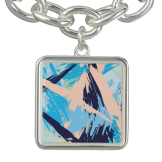 Blue Maritime Nautical Brushstroke Pattern Charm Bracelet