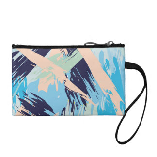 Blue Maritime Nautical Brushstroke Pattern Coin Purse