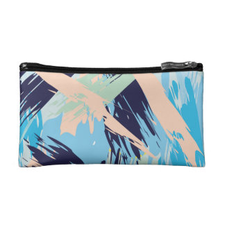 Blue Maritime Nautical Brushstroke Pattern Cosmetic Bag