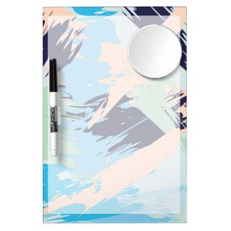 Blue Maritime Nautical Brushstroke Pattern Dry Erase Board With Mirror