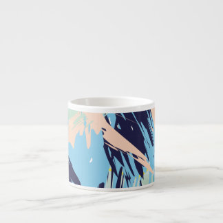 Blue Maritime Nautical Brushstroke Pattern Espresso Cup