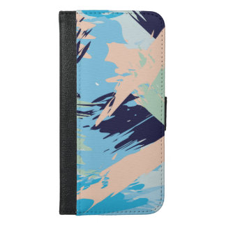 Blue Maritime Nautical Brushstroke Pattern iPhone 6/6s Plus Wallet Case
