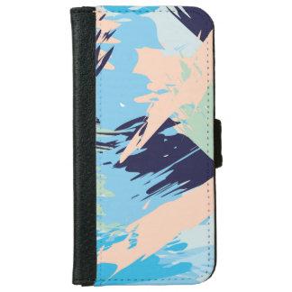Blue Maritime Nautical Brushstroke Pattern iPhone 6 Wallet Case