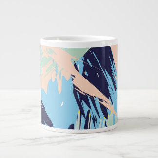 Blue Maritime Nautical Brushstroke Pattern Large Coffee Mug