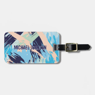 Blue Maritime Nautical Brushstroke Pattern Luggage Tag