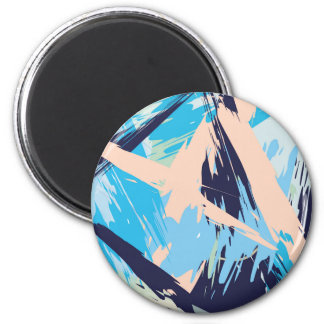 Blue Maritime Nautical Brushstroke Pattern Magnet