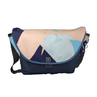 Blue Maritime Nautical Brushstroke Pattern Messenger Bag