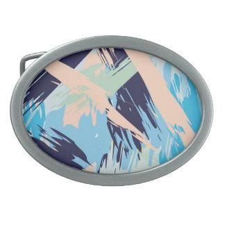 Blue Maritime Nautical Brushstroke Pattern Oval Belt Buckles