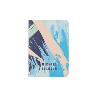 Blue Maritime Nautical Brushstroke Pattern Passport Holder