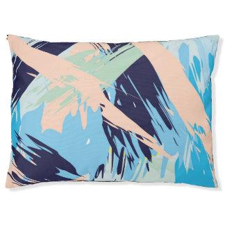 Blue Maritime Nautical Brushstroke Pattern Pet Bed