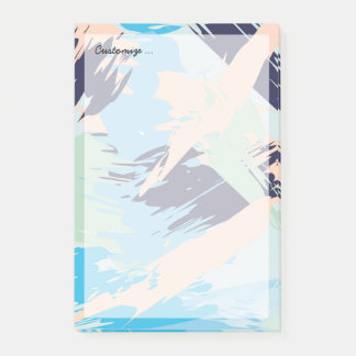 Blue Maritime Nautical Brushstroke Pattern Post-it® Notes