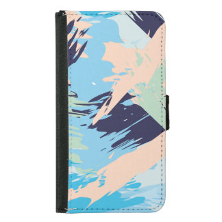 Blue Maritime Nautical Brushstroke Pattern Samsung Galaxy S5 Wallet Case