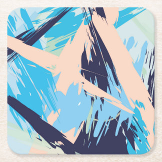 Blue Maritime Nautical Brushstroke Pattern Square Paper Coaster
