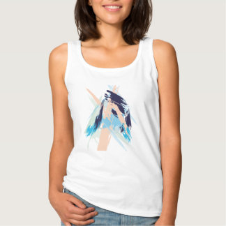 Blue Maritime Nautical Brushstroke Pattern Tank Top