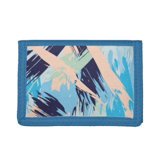 Blue Maritime Nautical Brushstroke Pattern Tri-fold Wallet