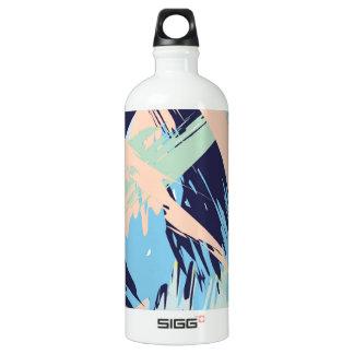 Blue Maritime Nautical Brushstroke Pattern Water Bottle