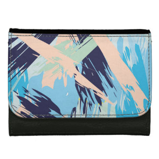 Blue Maritime Nautical Brushstroke Pattern Women's Wallet