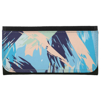 Blue Maritime Nautical Brushstroke Pattern Women's Wallets