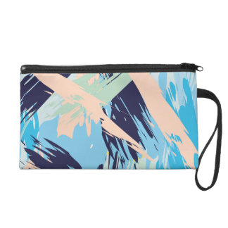 Blue Maritime Nautical Brushstroke Pattern Wristlet