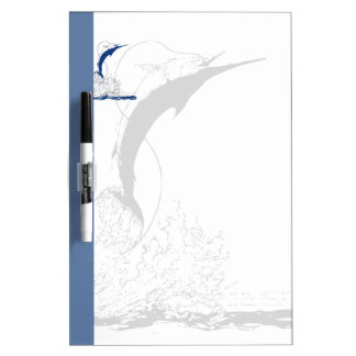 Blue Marlin, Blue Stripe and Shadowed Marlin Dry Erase Board