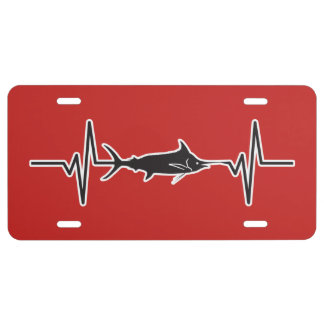Blue Marlin Fish - Heartbeat Pulse Graphic License Plate