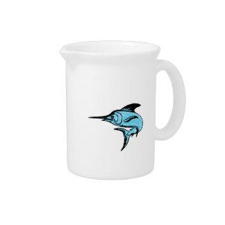 Blue Marlin Fish Jumping Drawing Beverage Pitcher