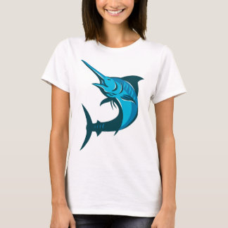 blue marlin fish jumping retro T-Shirt