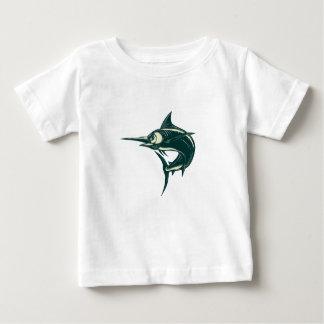 Blue Marlin Jump Scratchboard Baby T-Shirt