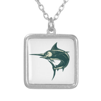 Blue Marlin Jump Scratchboard Silver Plated Necklace